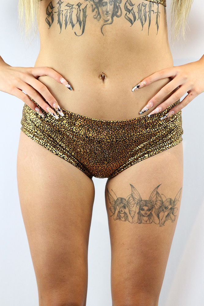 Rarr Designs Gold Shattered Naughty Fit Shorts