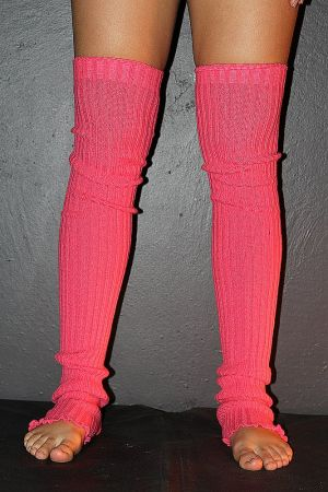 Extra long Stirr-up Knit Legwarmers Watermelon