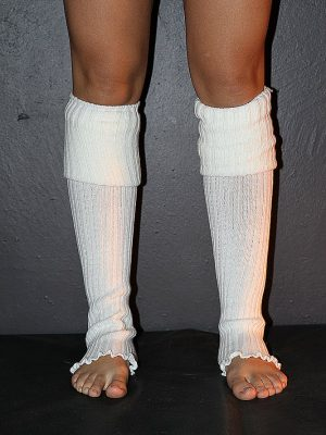 Extra long Stirr-up Knit Legwarmers Cream