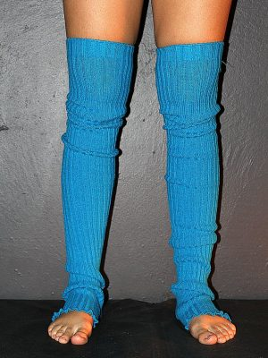Extra long Stirr-up Knit Legwarmers Royal Blue