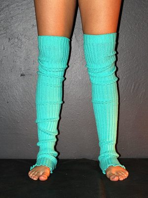 Extra long Stirr-up Knit Legwarmers Green
