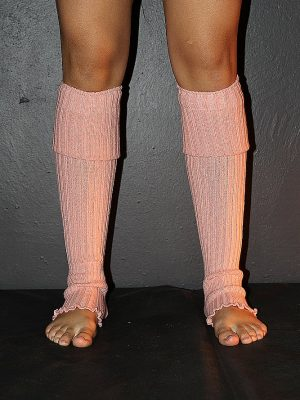 Extra long Stirr-up Knit Legwarmers Peach