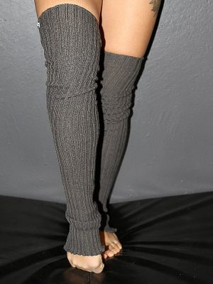 Extra long Stirr-up Knit Legwarmers Charcoal