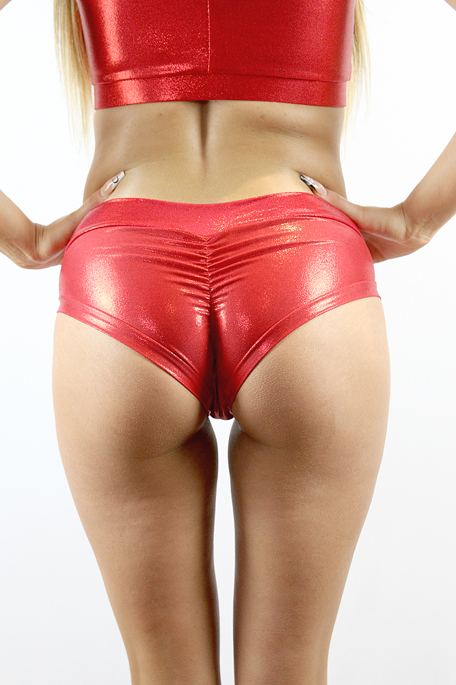 Rarr designs Red Sparkle Naughty Fit Shorts