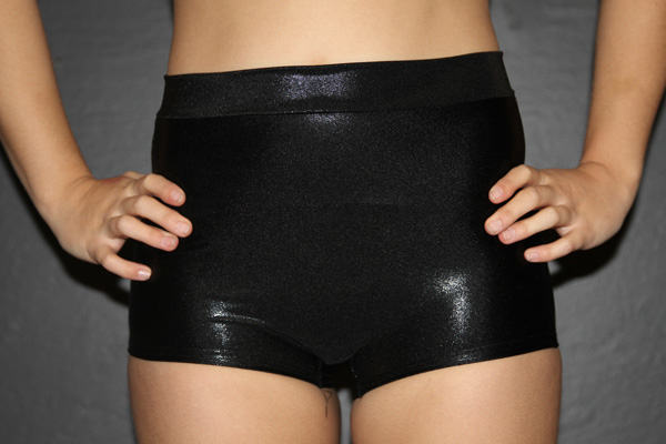 Black Sparkle High Waist Cheeky Shorts