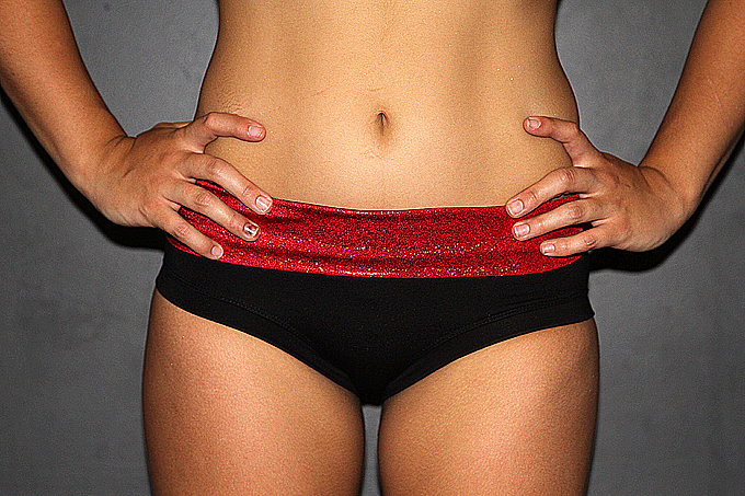 Red Sparkle Naughty Short Plain & Scrunchie Bum