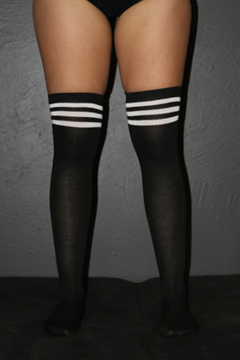Knee High Football Socks Black White