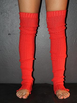 Extra long Stirr-up Knit Legwarmers Coral