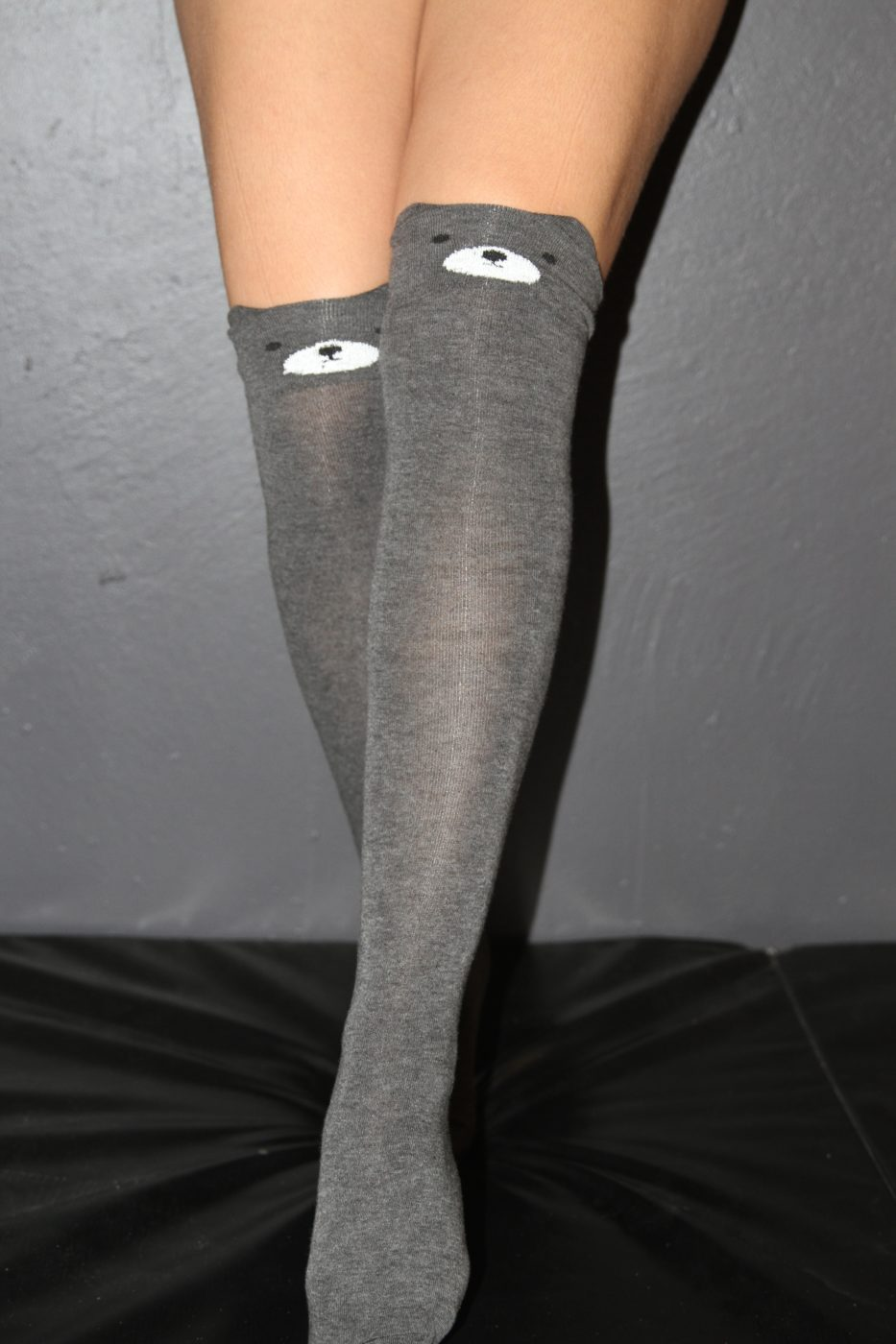 Knee High Panda Socks Dark Grey