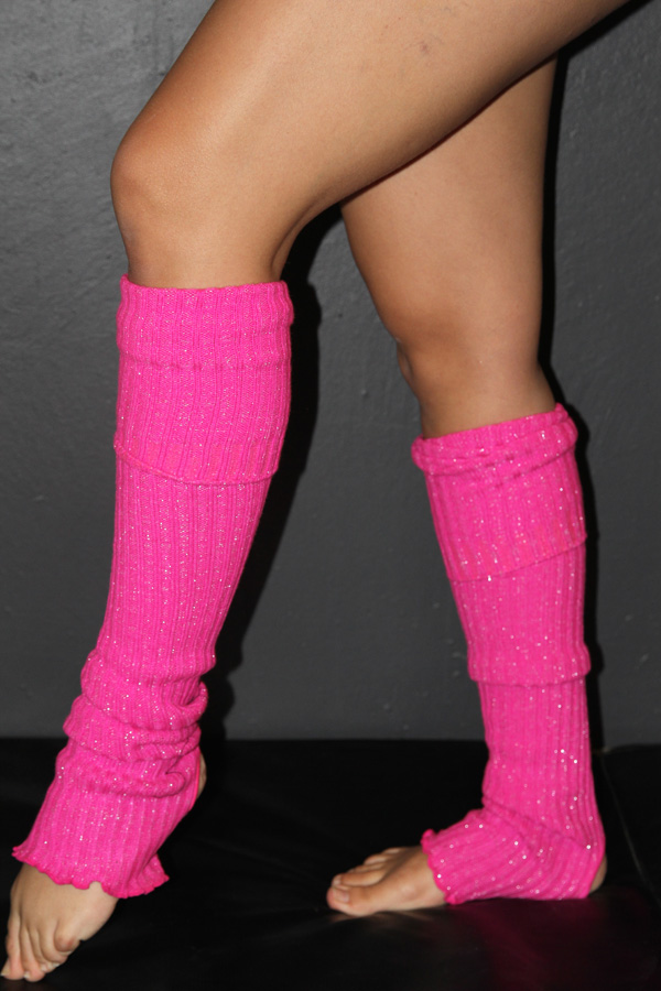 Glitter Extra long Stirr-up Knit Legwarmers Candy