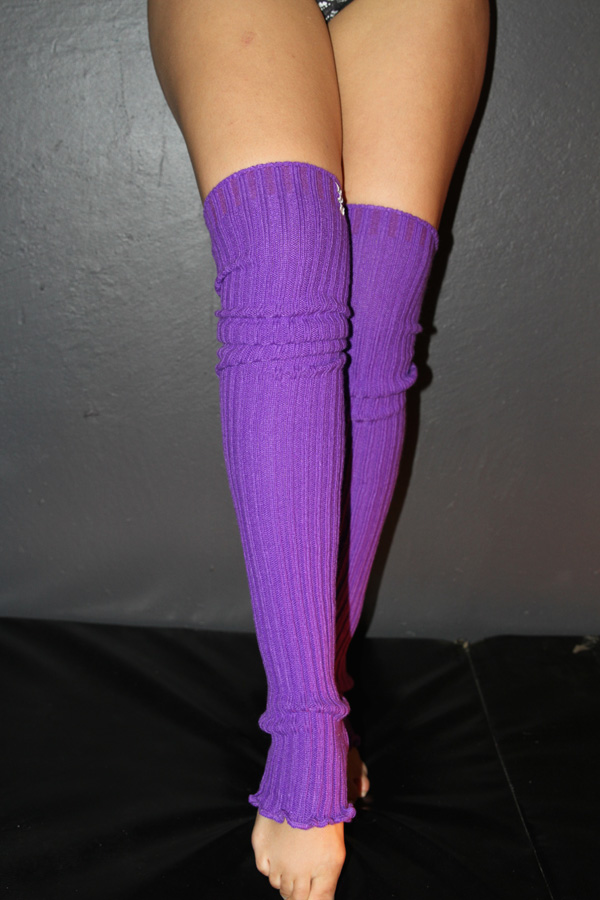 Extra long Stirr-up Knit Legwarmers Purple