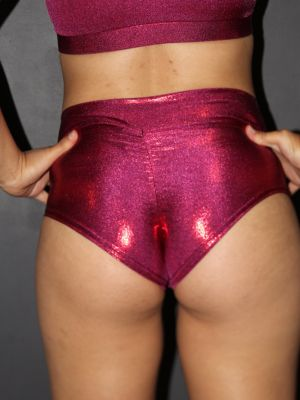 Wine Sparkle High Waisted BRAZIL Scrunchie Bum Shorts
