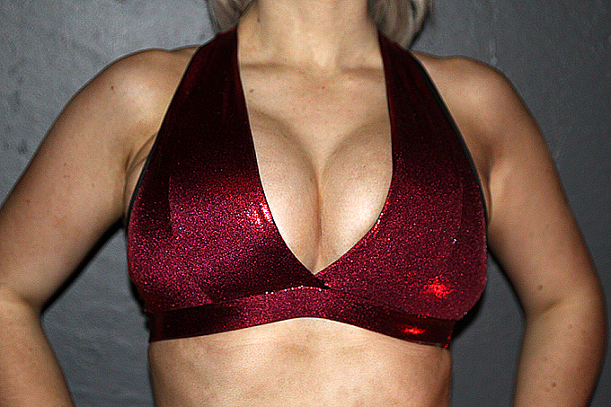 Wine Sparkle Plunge Sports Bra
