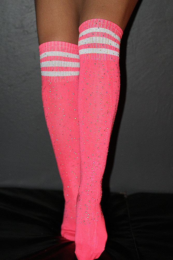 Rhinestone Knee High Football Socks Pink