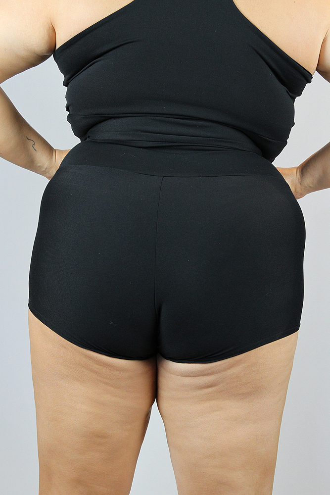 Matte Black High Waisted Cheeky Shorts - Plus Size