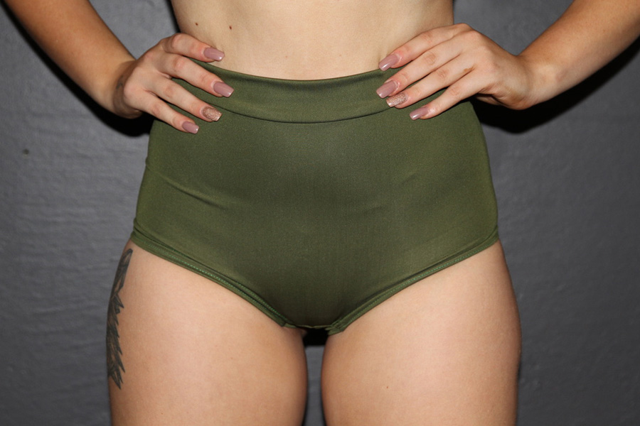 Olive High Waist Cheeky Shorts