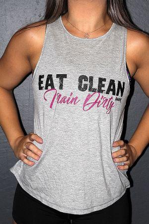 Eat clean train dirty GREY MARLE Cross back Tank