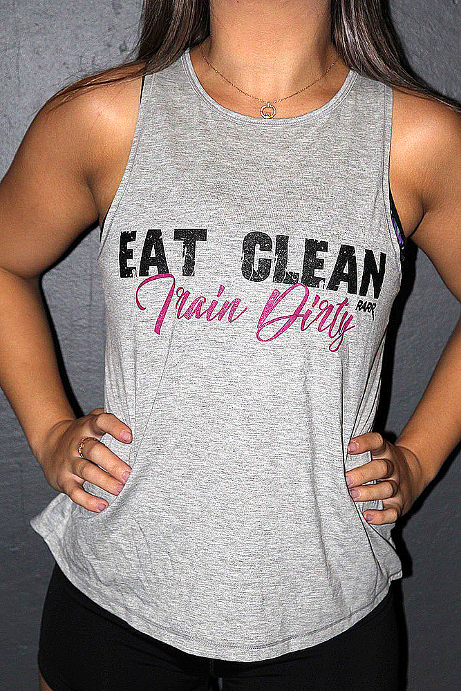 Eat clean train dirty GREY MARLE Cross back Tank