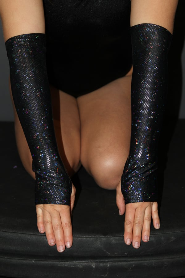 Black Shattered Extra long Stirr-up Spandex Fingerless Gloves
