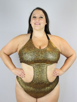 Gold Shattered Side Cut Out One Piece Leotard Bodysuit - Plus Size
