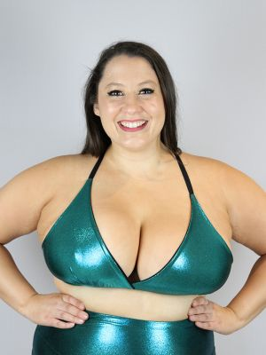 Jade Sparkle Bikini Bra - Plus Size