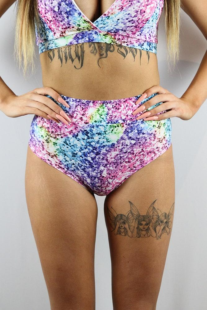 Rarr designs Glitter High Waisted BRAZIL Scrunchie Bum Shorts