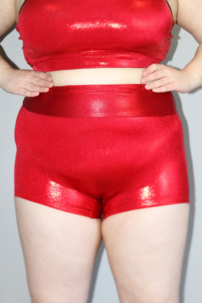 Red Sparkle High Waisted Cheeky Shorts - Plus Size