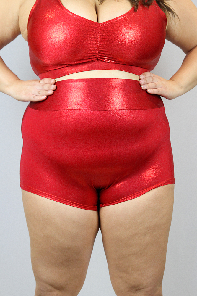 Rarr Designs Red Sparkle High Waisted Cheeky Shorts - Plus Size