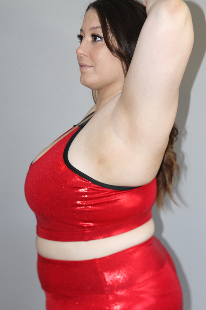 Red Sparkle V Sports Bra - Plus Size