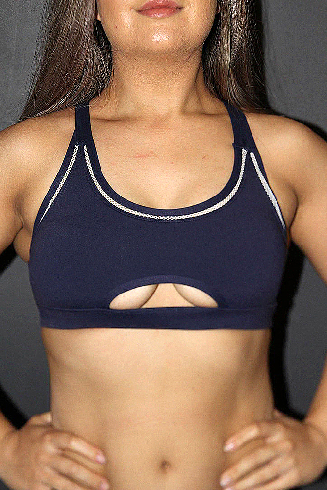 Rarr designs VARSITY Sports Bra Women's - Navy