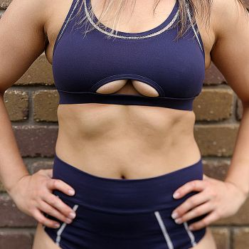 Rarr designs VARSITY Sports Bra and high waisted short Women's - Navy