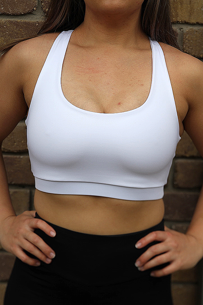 Rarr designs Matte White Racer Back Sports Bra