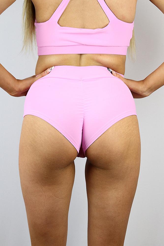Rarr designs Peony High Waisted BRAZIL Scrunchie Bum Shorts