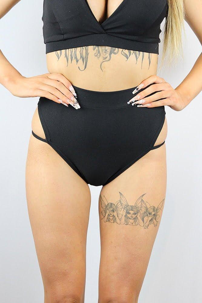 Rarr designs Matte Black Strap High Cut BRAZIL Scrunchie Bum Shorts