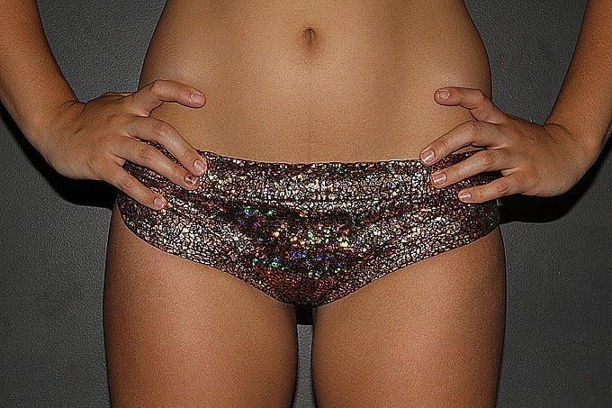 Gold Shattered BRAZIL Fit Scrunchie Bum Shorts