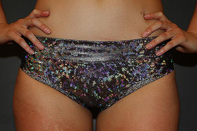 Silver Shattered BRAZIL Fit Scrunchie Bum Shorts