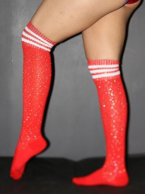 Rhinestone Knee High Football Socks Red