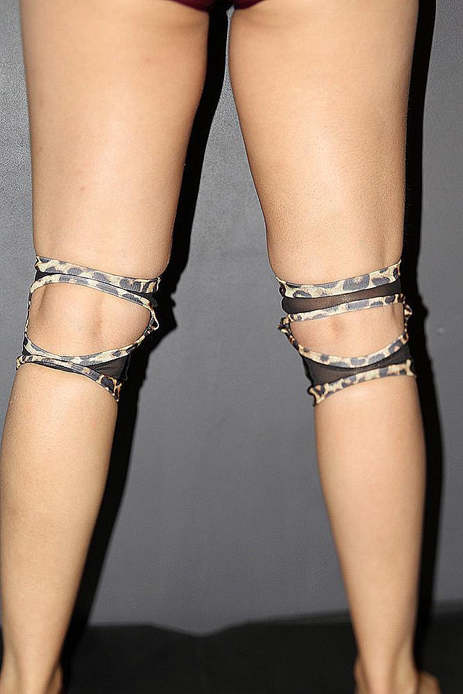 Leopard Spandex Vinyl/Mesh Grip knee Pads
