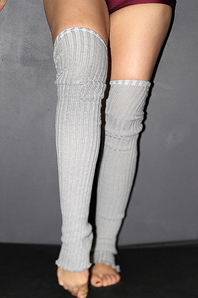 Extra long Stirr-up Knit Legwarmers Grey