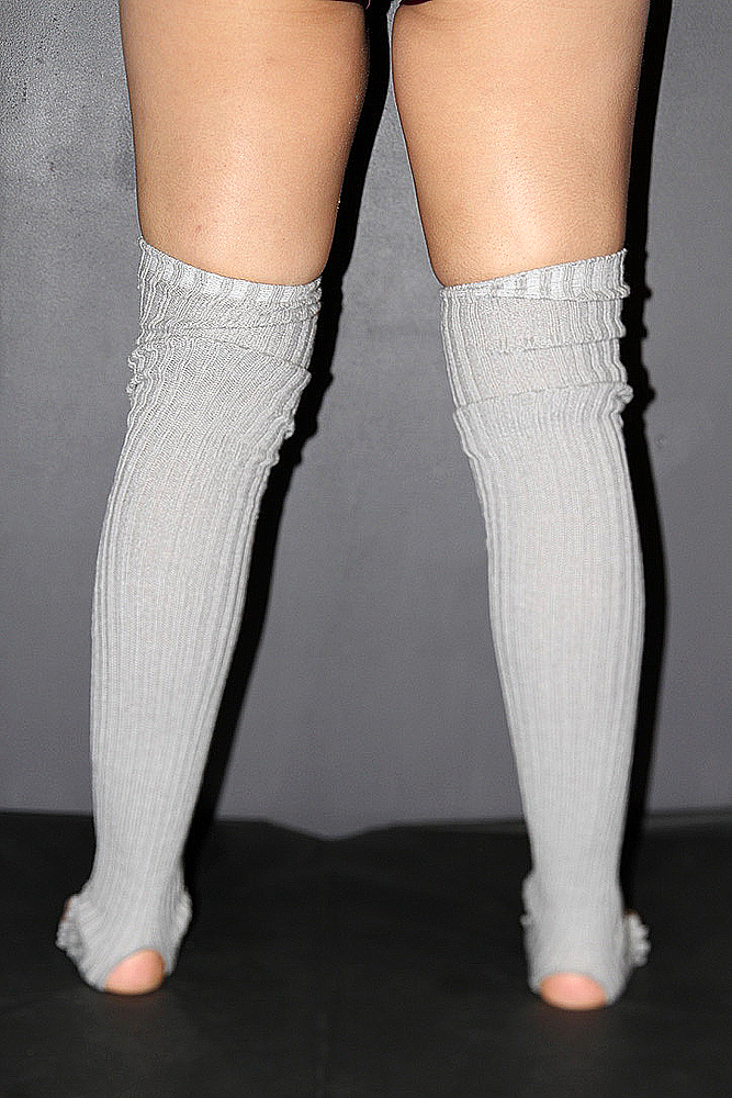 Extra long Stirr-up Knit Legwarmers Grey