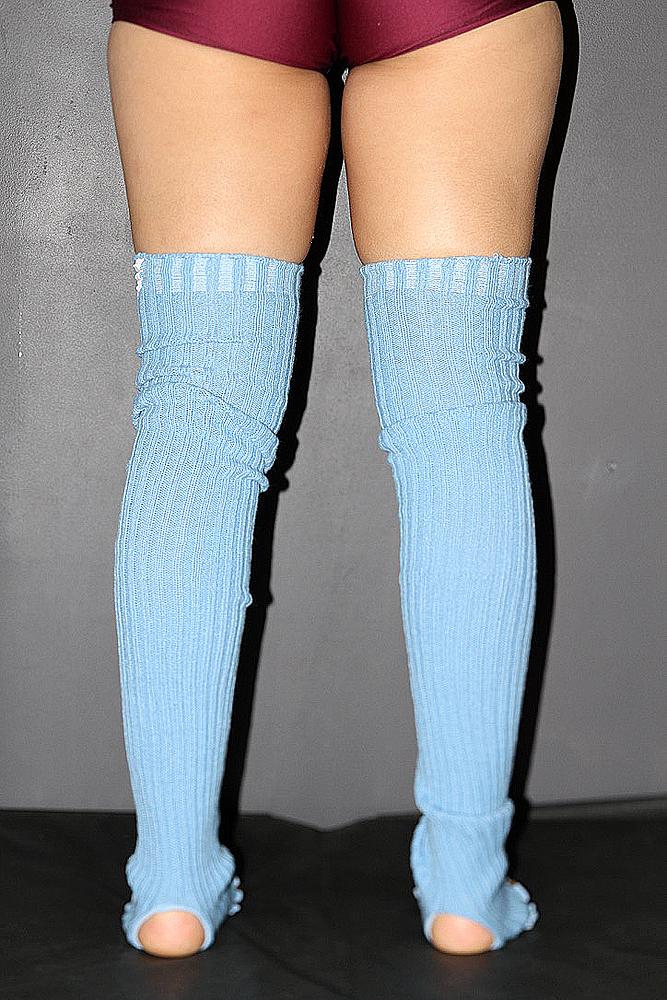 Extra long Stirr-up Knit Legwarmers Baby Blue