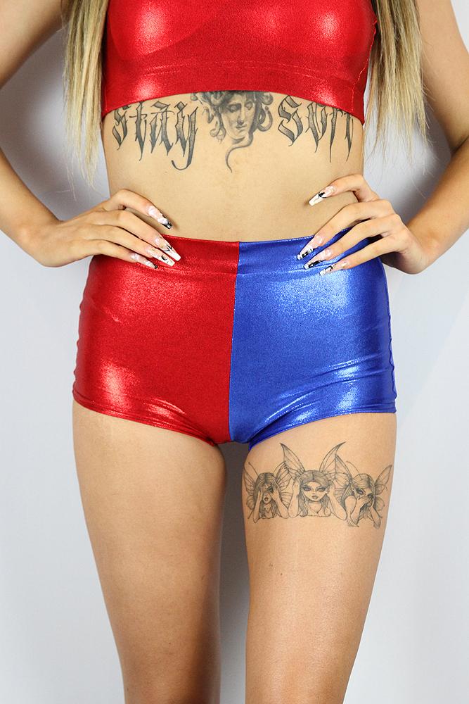 Rarr designs Harley Quinn High Waist Cheeky Shorts