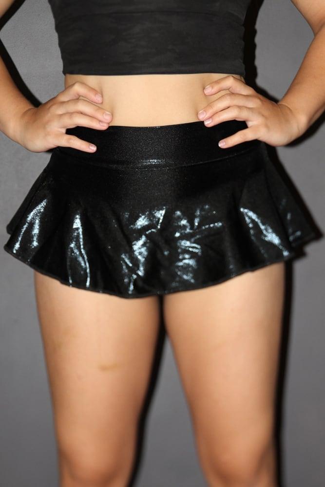 rarr designs Black Sparkle High Waisted BRAZIL Scrunchie Bum Skort