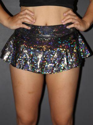 Rarr designs Silver Shattered High Waisted BRAZIL Scrunchie Bum Skort