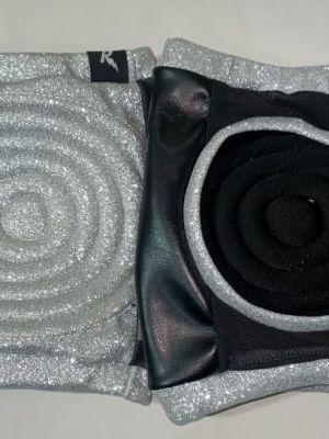Rarr design Glitter SILVER Spandex Vinyl/Mesh Grip Knee Pads