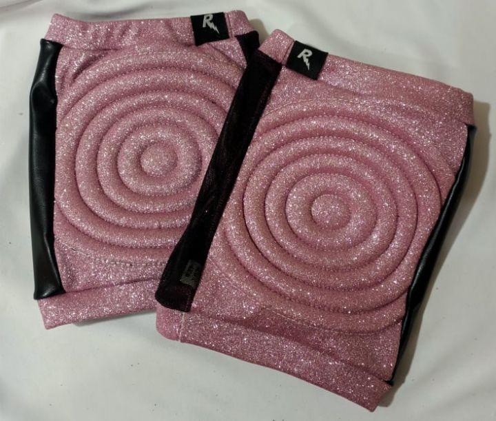 rarr designs Glitter PINK Spandex Vinyl/Mesh Grip Knee Pads