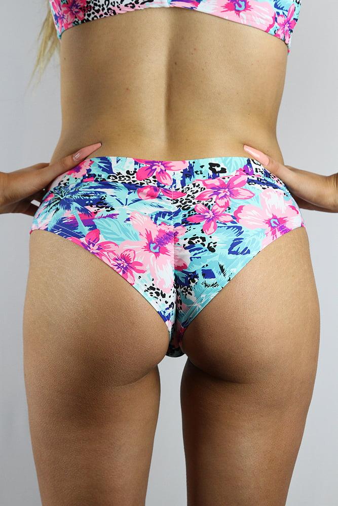 Rarr designs Hibiscus BRAZIL Fit Scrunchie Bum Shorts
