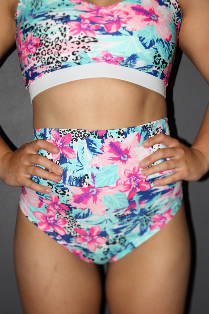 Rarr designs Hibiscus SUPER High Waisted BRAZIL Scrunchie Bum Shorts