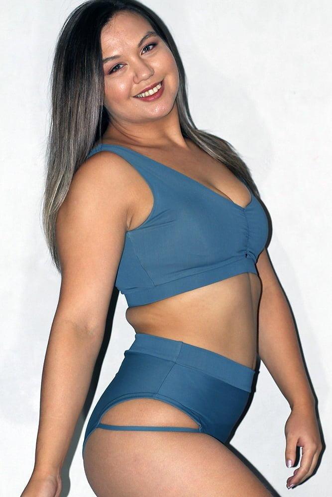 Rarr designs Smoky Blue Sweet Scoop Sports Bra