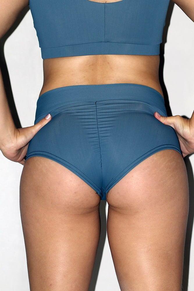 Rarr designs Smokey Blue High Waisted BRAZIL Scrunchie Bum Shorts